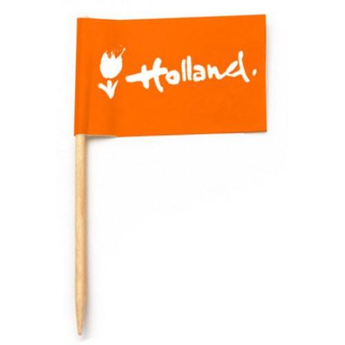 Cocktailprikkers oranje Holland logo