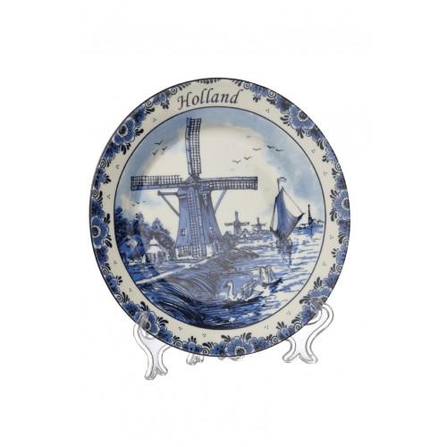 Delftsblauw bord molen & zwaan